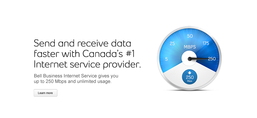 Bell Business Internet Service is Canada's #1 Internet service provider with up to 250 Mbps and unlimited usage